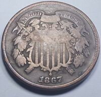 1867 VF U.S. TWO CENT PIECE 2 PENNY US ANTIQUE CURRENCY OLD USA OBSOLETE MONEY