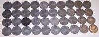 CIRCULATED  JEFFERSON SILVER WAR NICKELS 1942 1945 35 SILVER 40 COIN ROLL LOT