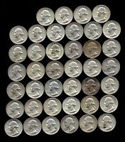 ONE ROLL OF WASHINGTON QUARTERS 1960 64  90 SILVER  40 COINS  LOT E93