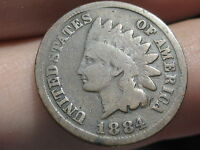 1884 INDIAN HEAD CENT PENNY VG/VERY GOOD DETAILS