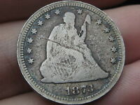 1873 SEATED LIBERTY QUARTER  NO ARROWS  OPEN 3  FULL OBVERSE RIMS