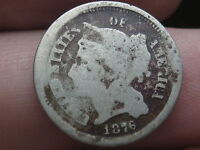 1876 THREE 3 CENT NICKEL  ALMOST COMPLETELY ROTATED REVERSE   ERROR