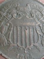 1864 TWO 2 CENT PIECE- LARGE MOTTO, VF/EXTRA FINE  DETAILS, WE SHOWING