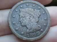 1849 BRAIDED HAIR LARGE CENT PENNY  SMOOTHED REVERSE