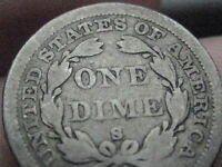 1860 S SEATED LIBERTY DIME   KEY DATE  VG/FINE DETAILS