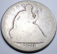 1870 S US SEATED LIBERTY SILVER HALF DOLLAR ANTIQUE VINTAGE OLD 50 CENT CURRENCY