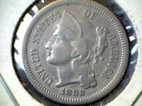 1882 3  CENT NICKEL COIN CIRCULATED UNCERTIFIED CLASHED BOTH SIDES ERROR