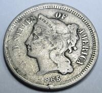 1865 US THREE CENT NICKEL PIECE ANTIQUE 3 PENNY OLD ANTIQUE USA CURRENCY MONEY