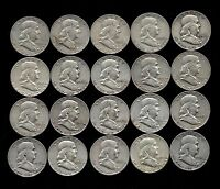 ROLL 20 FRANKLIN HALF DOLLARS 90 SILVER 1949 63  LOT F28