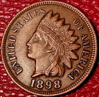 ANTIQUE 1800'S COIN1898 INDIAN HEAD ONE CENT PENNY A781