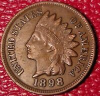 ANTIQUE 1800'S COIN1898 INDIAN HEAD ONE CENT PENNY A776