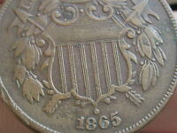 1865 TWO 2 CENT PIECE  CIVIL WAR TYPE COIN XF DETAILS PARTIAL WE