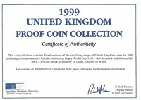 1999 GREAT BRITAIN 9 COIN 1 PIECE C.O.A. AND DOCUMENT SET NO COINS