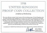 1998 GREAT BRITAIN 10 COIN 1 PIECE C.O.A. AND DOCUMENT SET NO COINS FREE SHIP