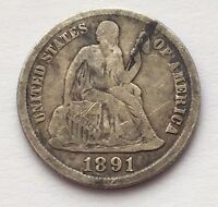 1891 S SILVER SEATED LIBERTY DIME 10 CENTS COIN