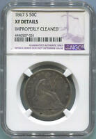 1867 S SEATED LIBERTY SILVER HALF DOLLAR NGC XF DETAILS