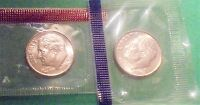 2005 P,D  UNCIRCULATED SATIN ROOSEVELT DIME IN THE ORIGINAL MINT CELLO