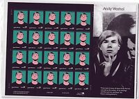 ODDLOTS: US  SCOTT  3652, 37 ANDY WARHOL, PANE OF 20, MINT, N H, ORIG PKG
