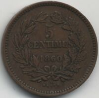 1860 A LUXEMBOURG WILLIAM III 5 CENTIMESCOLLECTORSKEY DATE
