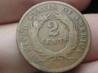 1869 TWO 2 CENT PIECE-  DATE- VG/FINE DETAILS, FULL REVERSE RIMS