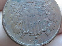 1866 TWO 2 CENT PIECE- CIVIL WAR TYPE COIN- VF/EXTRA FINE  DETAILS, WE VISIBLE