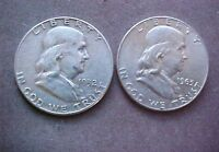 HIGH GRDE1952 AND 1963 D  FRANKLIN  HALF DOLLARS    TWO COINS