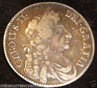 1676 UK GREAT BRITAIN HALF CROWN CHARLES II