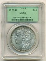 1921 D MORGAN SILVER DOLLAR MS62 PCGS OGH