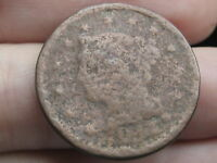 1843 1849 BRAIDED HAIR LARGE CENT PENNY  METAL DETECTOR FIND?