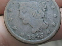 1843 BRAIDED HAIR LARGE CENT PENNY SMALL LETTERS PETITE HEAD