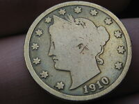 1910 LIBERTY HEAD V NICKEL- VG DETAILS, GOLD PLATED?