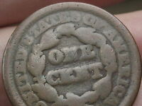 1843 1857 BRAIDED HAIR LARGE CENT PENNY HEAVILY WORN