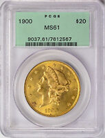 1900 $20 GOLD DOUBLE EAGLE PCGS MS61 OGH