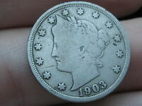 1903 LIBERTY HEAD V NICKEL  FINE/VF DETAILS FULL RIMS