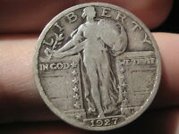 1927 P SILVER STANDING LIBERTY QUARTER, VG/FINE DETAILS, FULL DATE