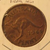 1944 P AUSTRALIA PENNY PERTH MINT COPPER COIN & HOLDER THECOINDIGGER WORLD COINS