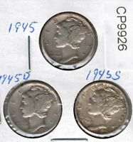 1945 1945 D AND 1945 S MERCURY DIME  CP9926