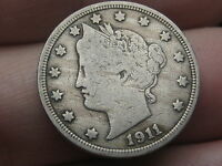 1911 LIBERTY HEAD V NICKEL- FINE/VF DETAILS, FULL RIMS