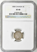 1888 CANADA SILVER 5 CENT   NGC XF40   KM2 16 0154