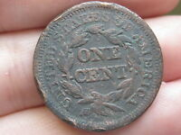 1846 BRAIDED HAIR LARGE CENT SMALL DATE VF REVERSE DETAILS