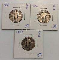 STANDING LIBERTY SILVER QUARTERS-3 COIN LOT-1925,1926,1927