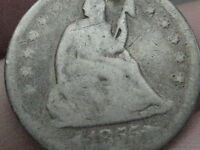 1855 O SEATED LIBERTY QUARTER   KEY DATE