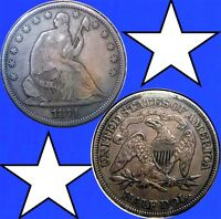 1871 S SEATED LIBERTY HALF DOLLAR IN XF AU CONDITION  BY 1TB