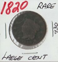 1820 LARGE CENT CORONET FROM OLD COIN COLLECTION  COIN