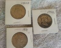 FRANKLIN HALF DOLLARS 1950 D 1951 1952  COIN LOT: 3 WITH NICE TONE COLORS HS