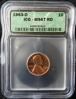 1963 D LINCOLN MEMORIAL CENT MS67 RD