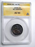 1838 NO DRAPERY SEATED 25C ANACS AU 50  TYPE COIN NICE TONING