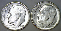 1954 & 1954 D SILVER UNC BU ROOSEVELT DIME TEN CENT COIN FROM NICE 10C ROLL R