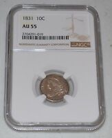 1831 10C CAPPED BUST SILVER DIME GRADED BY NGC AS AU 55