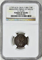 1790S 1/4P GB MIDDLESEX PRINCE OF WALES   D&H1140A   NGC XF40 16 0081